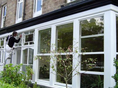 Front bay sash window and porch painting frames period house harrogate