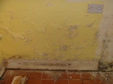 crumbling plaster caused by damp