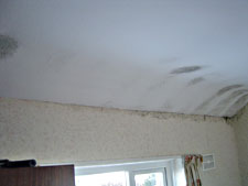 Mould on bedroom ceiling caused by missing insulation