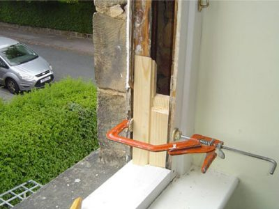 new sections of treated wood spliced into existing frame including new outer cills harrogate renovation