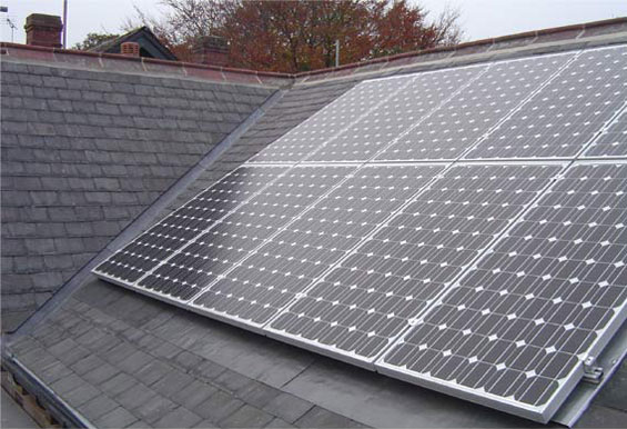 new solar PV installation on rear elevation fitted during main roofing work detached house wakefield