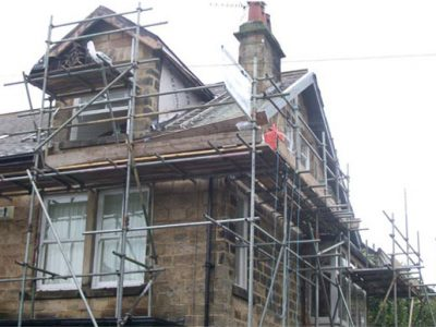 scaffolfing for reroofing and pointing harrogate home