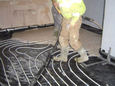 under floor heating pipes over damp membrane covering 100mm of insulation leeds property