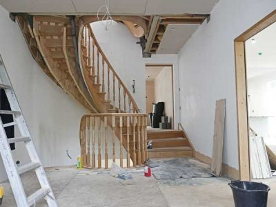 Fitting oak spiral staircase building project near Leeds