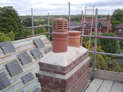 Roofing project and new pots and cowls to a chimney top